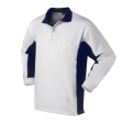 Polo sweater Workman Bi-colour zonder boord wit met navy